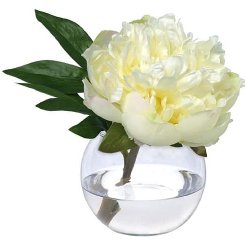 Diane James Cream Peony Blossom In Glass Bowl