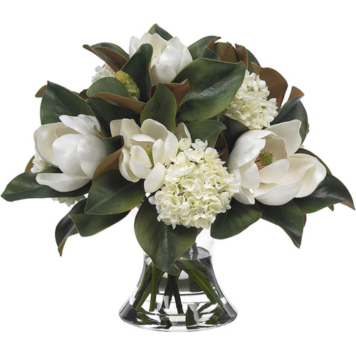 Diane James Large Magnolia And Hydrangea Bouquet In Cinched Vase