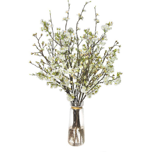 Diane James Mixed Blossom Branches In Tall Vase With Gold Band