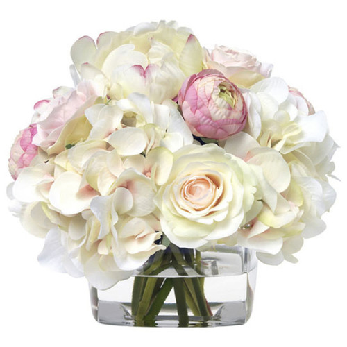 Diane James Pink And White Hydrangea Bouquet In Glass Cube
