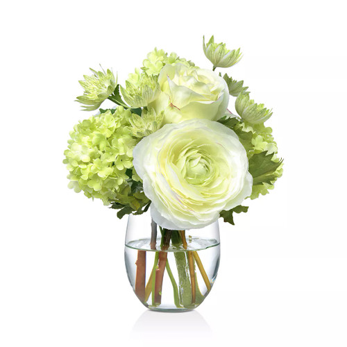 Diane James Small Green And White Bouquet In Glass Vase