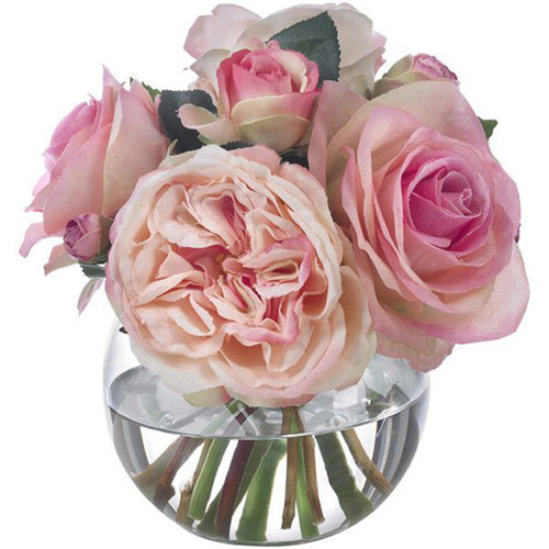 Diane James Small Pink Rose Bouquet In Glass Bowl