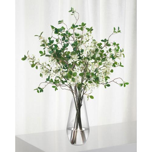 Diane James White Blossom And Leaf Bouquet In Teardrop Vase
