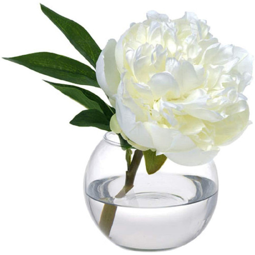 Diane James White Peony Blossom In Glass Bowl