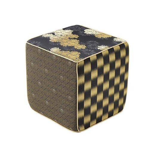 Sferra Kori Black/Gold Pouf Cubo
