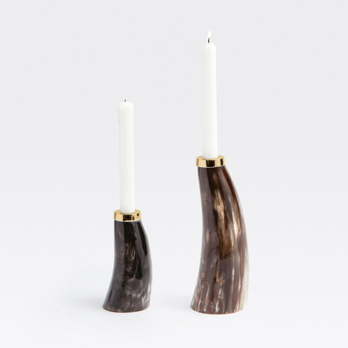 Blue Pheasant Brian Mixed Horn 2-Piece Candle Holder - 1 Large and 1 Small