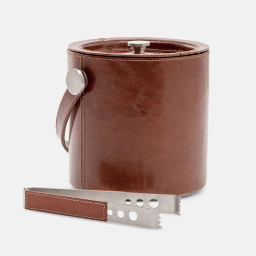 Blue Pheasant Bristol Tobacco Leather Ice Bucket with Tongs Round Full-Grain Leather