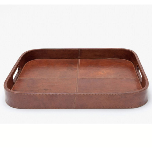 Blue Pheasant Bristol Tobacco Leather Tray Rectangular With Rounded Edges Full-Grain Leather