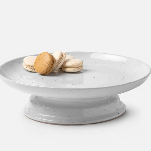 Blue Pheasant Marcus Large White Salt Glaze Cake Stand