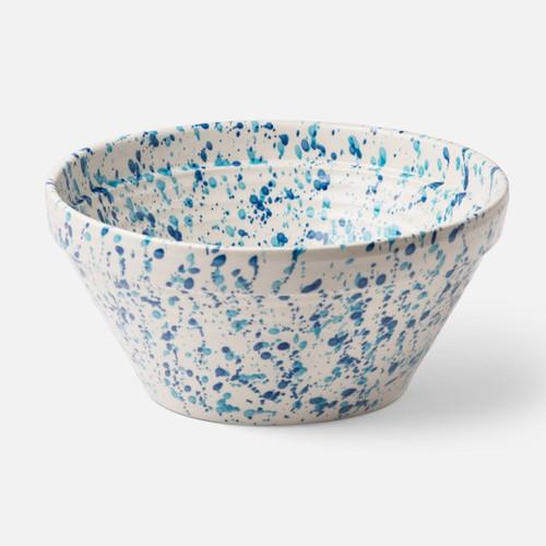 Blue Pheasant Sconset Large Mixed Blue Spongeware Serving Bowl