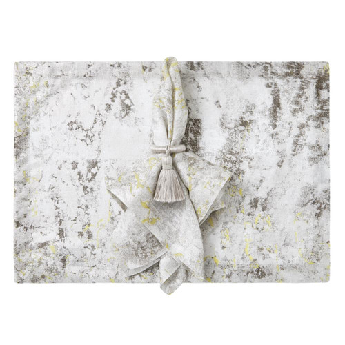 Mode Living Argento Gray Metallic with Lime Placemats - Set of 4