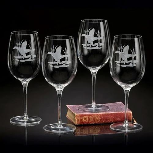 Julie Wear Designs American Ducks Flying Mallard Wine Glasses
