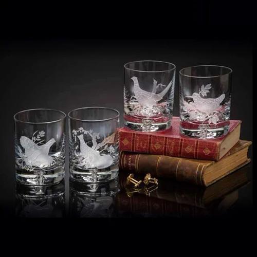 Julie Wear Designs Upland Game Birds Old Fashion Assorted Glass