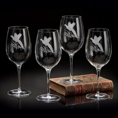 Julie Wear Designs Upland Game Birds Pheasant Wine Stem Glasses