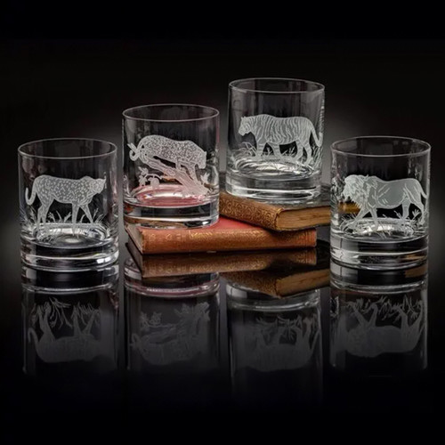 Julie Wear Designs Big Cats Old Fashion Assorted Glass