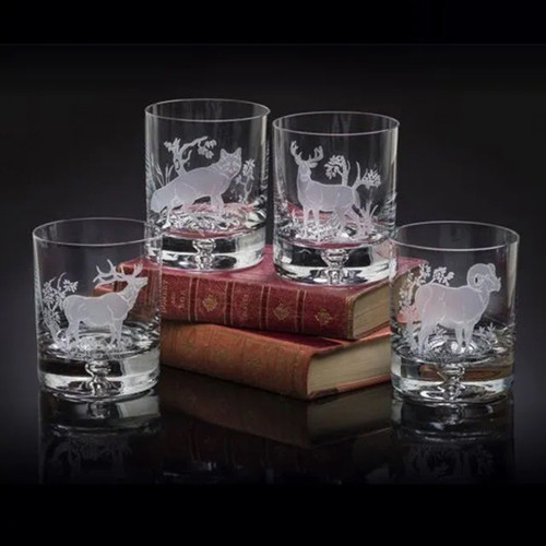 Julie Wear Designs American Wildlife Collectin Old Fashion Assorted Glass
