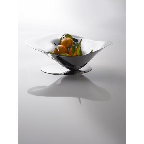 Casa Bugatti USA Petalo Mirror Stainless Steel Base Fruit Bowl