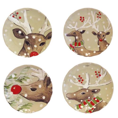Casafina Deer Friends Dessert Plates - Set of 4
