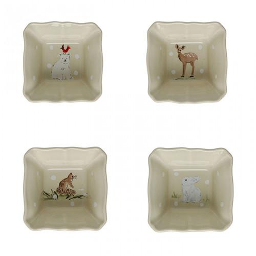 Casafina Deer Friends Square Ramekins - Set of 4
