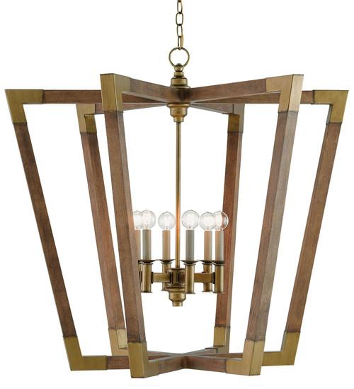Currey & Company Bastian Large Lantern Chestnut/Brass - Wood/Wrought Iron