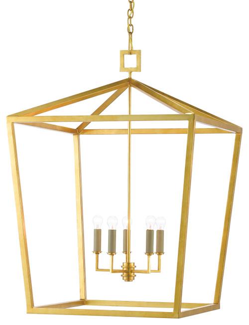 Currey & Company Denison Gold Grande Lantern Wrought Iron Gold Leaf