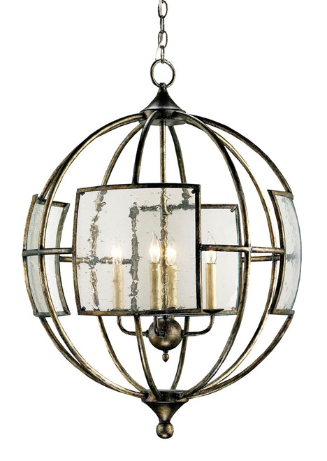 Currey & Company Broxton Bronze Orb Wrought Iron/Seeded Glass Chandelie