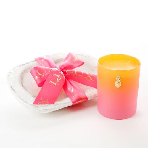 Lux Fragrances Tutti Fruity White 3 Wick Dough Bowl Candle