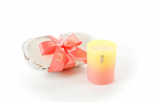Lux Fragrances Beachy Peachy Sangria White 3 Wick Dough Bowl Candle