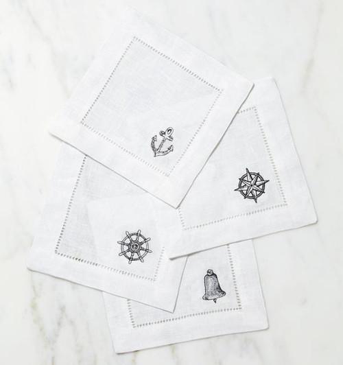 Sferra Nautico Cocktail Napkin - Set of 4 - 6x6 - White/Silver