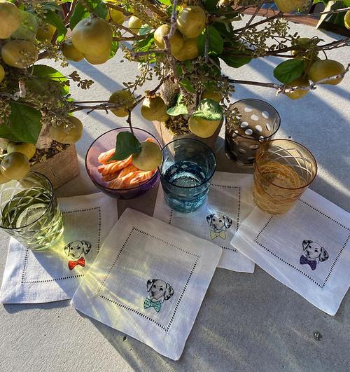 Sferra Cani Cocktail Napkin - Set of 4 - 6x6 - Dalmatian