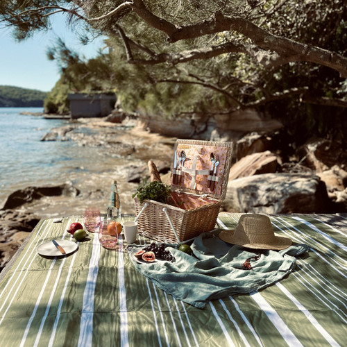 Sunnylife Wash Me Beach & Picnic Blanket Olive & Neon Pomelo