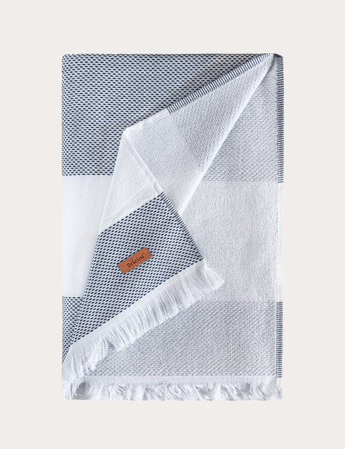 "BRICINI CORSICA BEACH TOWEL 35""X72"" WH/NAVY"