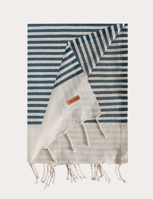 BRICINI RUBBY BEACH TOWEL 35''X72'' DEEP BALTIC