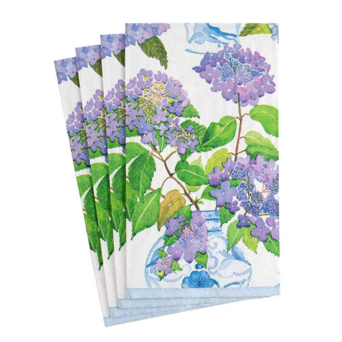 Caspari Hydrangeas and Porcelain Paper Guest Towel Napkins - 15 Per Package