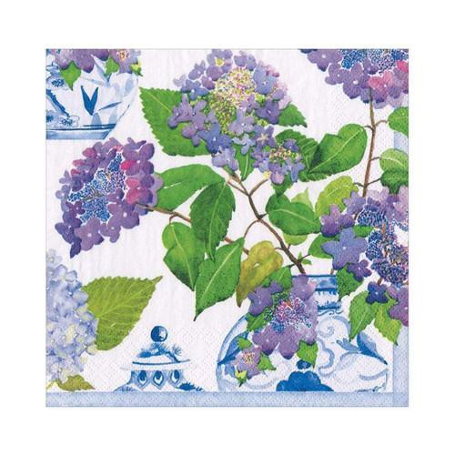 Caspari Hydrangeas and Porcelain Paper Luncheon Napkins - 20 Per Package