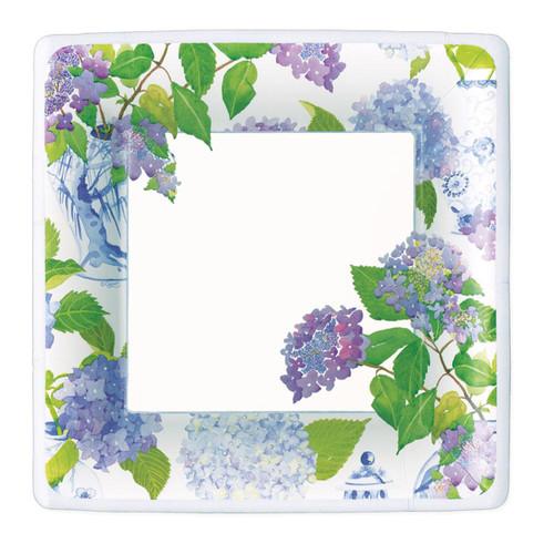 Caspari Hydrangeas and Porcelain Square Paper Dinner Plates - 8 Per Package