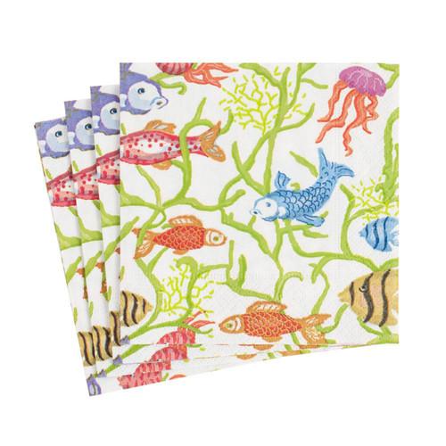 Caspari Tropical Reef Paper Cocktail Napkins - 20 Per Package