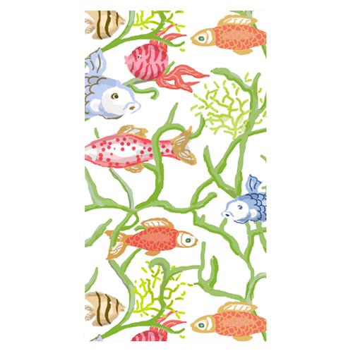 Caspari Tropical Reef Paper Guest Towel Napkins - 15 Per Package