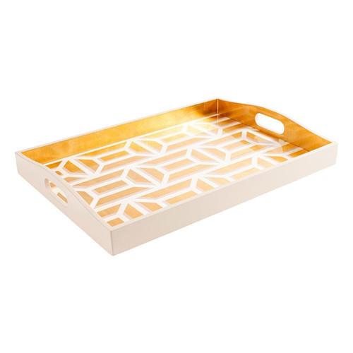 Caspari Garden Gate Lacquer Large Rectangle Tray in White & Gold