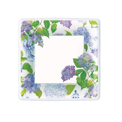 Caspari Hydrangeas and Porcelain Square Paper Salad & Dessert Plates - 8 Per Package