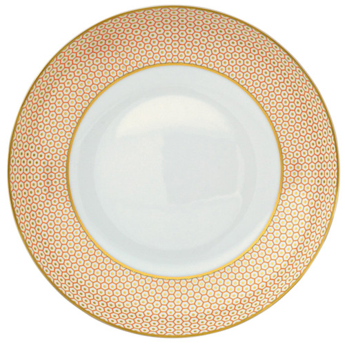Raynaud Tresor Motive N°3 Round Orange Rim Soup Plate