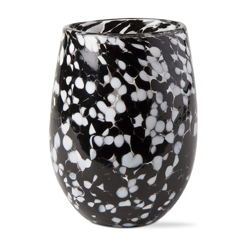 Tag Stemless Wine Glass Confetti Black Multi