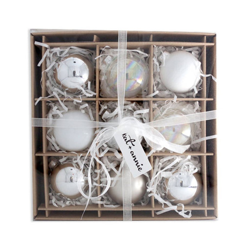 Kat + Annie 9 Count Frosted Whites Ornaments