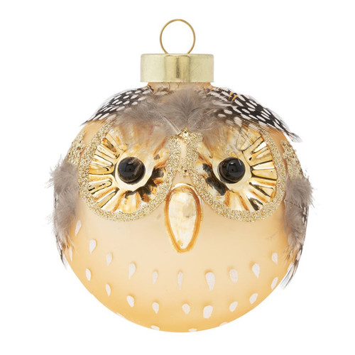 Kat + Annie Feather Owl Face Round Ornaments