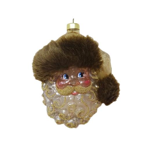 Kat + Annie Glistening Metallic Santa Face Ornaments