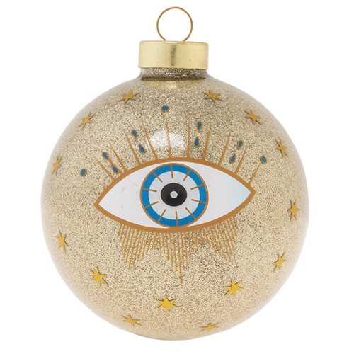 Kat + Annie Glitter Evil Eye Round Ornaments