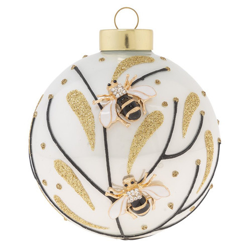 Kat + Annie Golden Bees And Flowers Round Ornaments