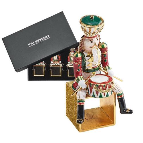 Kim Seybert Xmas Drummer Red/Green/Gold Napkin Ring - Set of 4