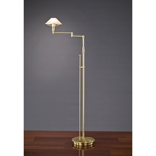 Holtkoetter Aging Eye Swing Arm Floor Lamp in Brushed Brass with Glass Shade #9434