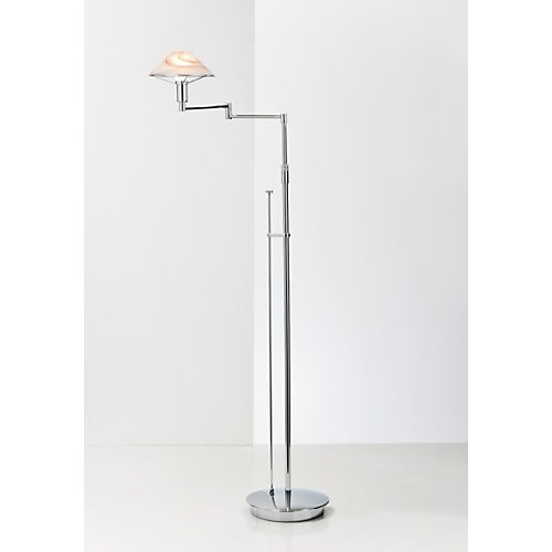 Holtkoetter Aging Eye Swing Arm Floor Lamp in Chrome with Glass Shade #9434